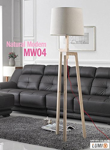 LUMIN MW04 European Luxury Noblesse Natural Beech Wood Floor Stand Lamp Light Linen Shade Great Interior for Your Home Deco / 9W Osram LED Bulb Including by Lumin (Image #1)