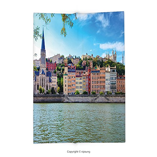 Custom printed Throw Blanket with European Lyon City Village France with Colorful Historical Cathedral River Panorama Multicolor Super soft and Cozy Fleece Blanket