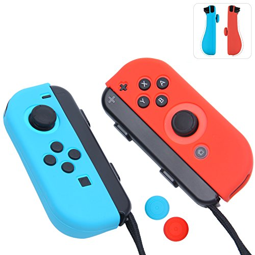 - Joy-Con Gel Guards with Thumb Grips Caps for Nintendo Switch (Blue+Red)