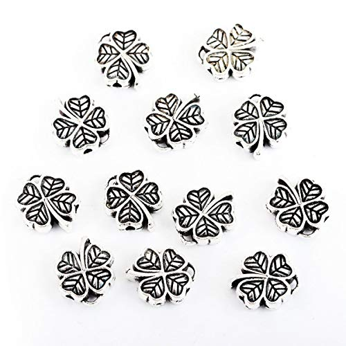 """PEPPERLONELY 50pc Antiqued Silver Alloy Four Leaf Clove Charms Pendants 12x11mm(4/8"""" x 3/8"""")"""