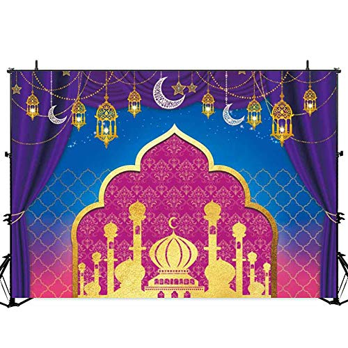 Allenjoy Nights Magic Genie Theme Backdrop Arabian Moroccan Birthday Party Decor Banner 7x5ft Gold Glitter Indian Bollywood Princess Sweet 16 Baby Shower Photography Background Photobooth Props ()