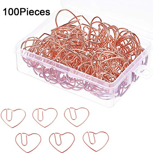 (Saundra Peal 100 Pieces 3 cm Love Heart Shaped Small Paper Clips Bookmark Clips for Office School Home (Rose Gold))