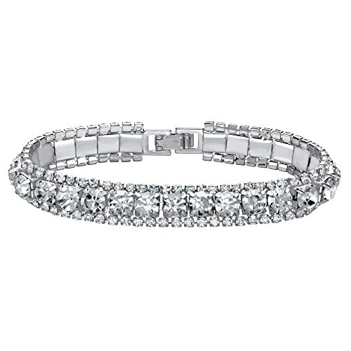 (Lux Silvertone Simulated Birthstone and Crystal Tennis Bracelet 7