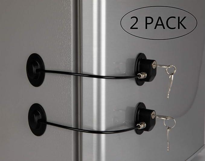 REZIPO - Juego de 2 cerraduras para puerta de refrigerador con 4 llaves, cierre de cajón de archivo, cerradura para puerta de congelador y cerradura para armario de seguridad para niños, color