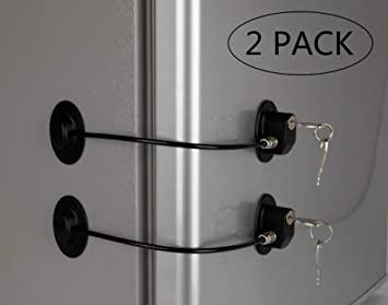REZIPO - Juego de 2 cerraduras para puerta de refrigerador con 4 ...