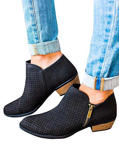 Ankle Chunky Ermonn Faux Side Toe Low Booties Zip Womens Block Black Heel Closed Leather 00xqPUw