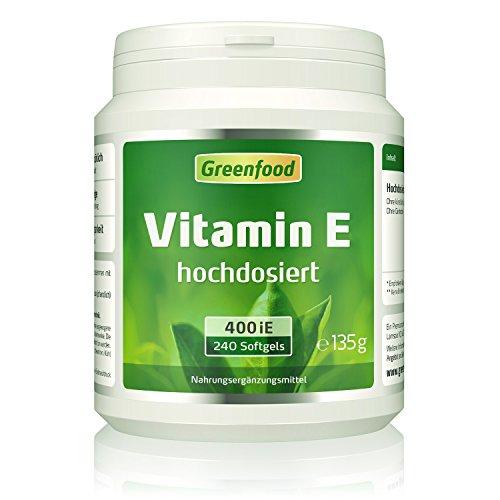 Vitamin E, 400 iE, hochdosiert, 240 Softgel-Kapseln – wichtiger Anti-Oxidant, schützt die Zellen vor vorzeitiger Alterung (Anit-Aging). OHNE künstliche Zusätze. Ohne Gentechnik.