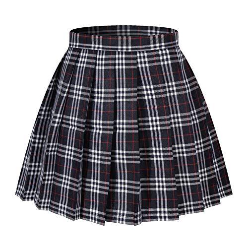 Beautifulfashionlife Girl's Short Pleated Skirts Japan School Uniform Cosplay Costumes (S,Dark Blue Mixed White)