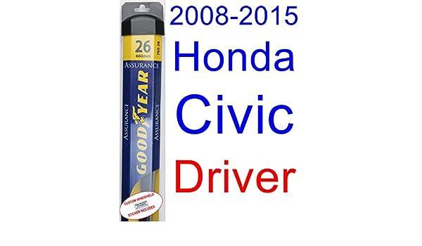 2008 - 2015 Honda Civic Sedan hoja de limpiaparabrisas de repuesto Set/Kit (Goodyear limpiaparabrisas blades-assurance) (2009,2010,2011,2012,2013,2014): ...