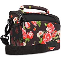 USA Gear Floral Bridge Camera Bag with Rain Cover , Adjustable Dividers and Protective Neoprene Material - Works With Nikon Coolpix S9900 , S7000 / Canon PowerShot SX710 HS , ELPH 350 HS and More