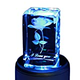 LIWUYOU Colorful Romantic Rose 3D Crystal Musical Box Valentines Day Gifts, Music Base