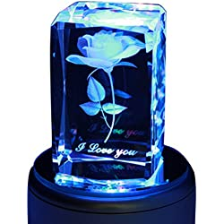 Crystal 3D Rose Flower Rotating Music Box