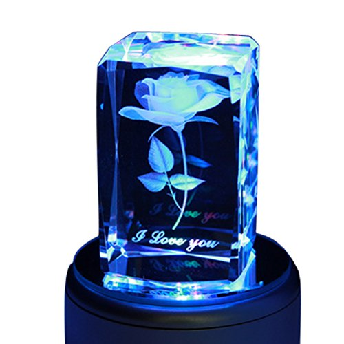 LIWUYOU Crystal 3D Rose Flower Colorful Rotating Musical Box Engraved I Love You, Rose, Music Base