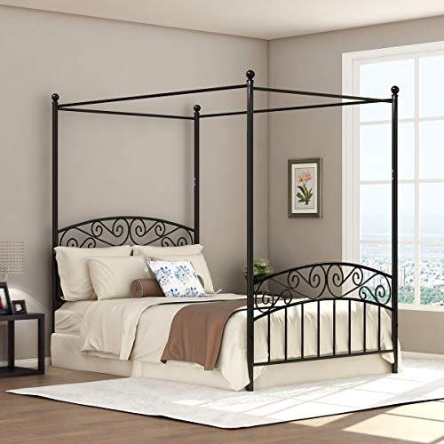 Full Size Metal Canopy Bed Frame with Ornate European Style Headboard & Footboard Sturdy Black Steel Holds 660lbs Perfectly Fits Your Mattress Easy DIY Assembly All Parts Include (Black, Full-Deluxe) ()