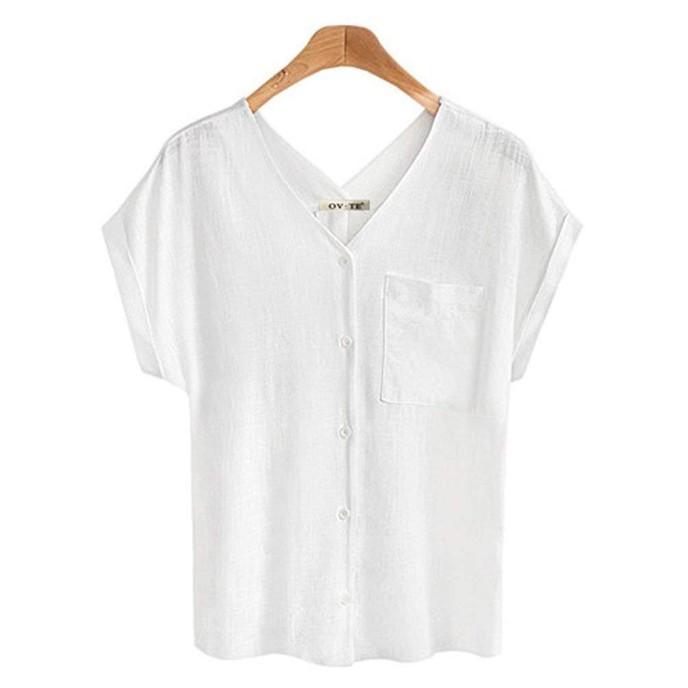 Womens Tops Style Blouses Ladies pop Shirts Spring Summer Plus Size Womens Casual Linen Blouses V-Neck S-3XL (2XL, White)