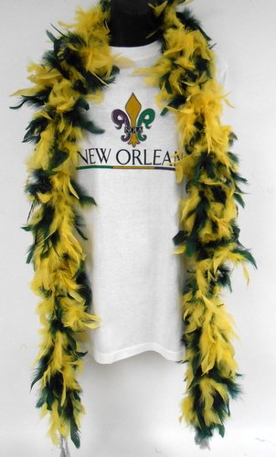 Mardi Gras Costumes New Orleans (6 Foot - Dark Green and Gold Team Colored Feather Boa (Each))