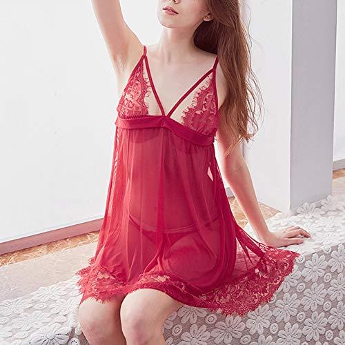LotFancy Lingerie for Women, Sexy Lace Chemise, V-Neck Open Back Sleepwear, Adjustable Strap Nightwear, Wine Red