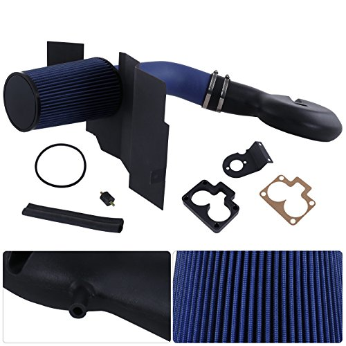 Fits Dodge Durango Dakota 5.2L 5.9L Blue Wrinkle Cold Air Intake Cai Induction + Heat Shield + Filter Assembly Piping Kit Replacement Upgrade ()
