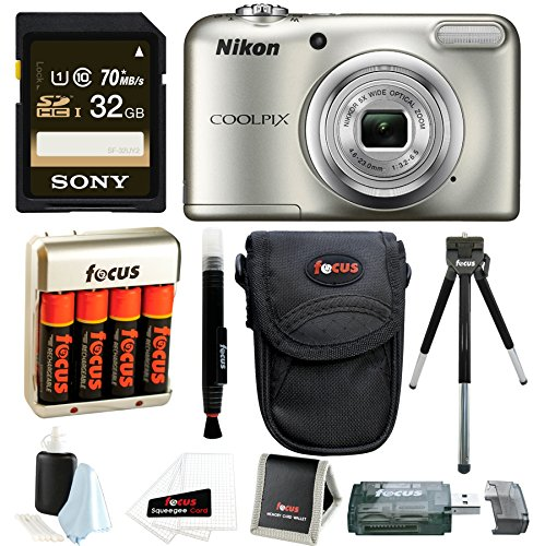 Nikon Coolpix A10 Digital Camera with 32GB Card + Batteries and Bundle by Focus Camera