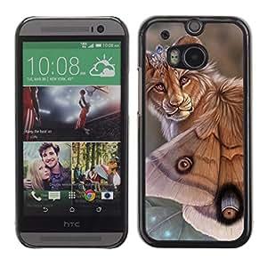 Be Good Phone Accessory // Dura Cáscara cubierta Protectora Caso Carcasa Funda de Protección para HTC One M8 // Lion Butterfly Nature Art Biotechnology Eyes