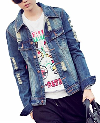 Ptyhk RG Mens Casual Laple Button Up Rivet Ripped Hole Denim Jacket at Amazon Mens Clothing store: