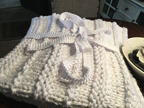 Pure Winter White Chunky Handknit Blanket, Afghan, Throw
