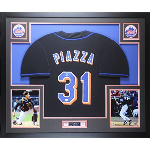 finest selection b07d6 8504f Mike Piazza Autographed Black Mets Jersey - Beautifully ...