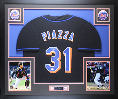 (Mike Piazza Autographed Black Mets Jersey - Beautifully Matted and Framed - Hand Signed By Mike Piazza and Certified Authentic by JSA COA - Includes Certificate of Authenticity)