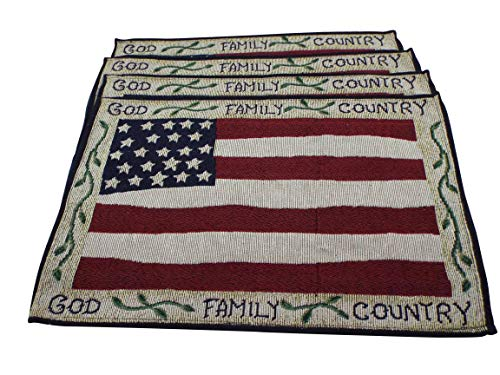 Bristola Home Designs Set of 4 Patriotic Red, White and Blue Tapestry God, Family, Country Placemats (13 x 19 inches)