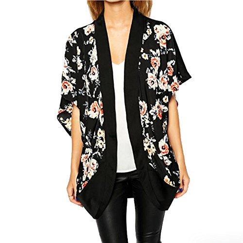 Blackobe Women's Floral Print Chiffon Shawl Kimono Cardigan Cover up Blouse Tops (S)