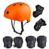 Skateboard / Skate Protection Set with Helmet--SymbolLife Helmet with 6pcs Elbow Knee Wrist Pads for Kids BMX/ Skateboard / Scooter, For Head Size S (55-57cm) Orange