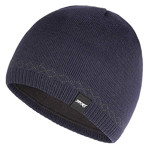 OMECHY Mens Watch Hat Winter Warm Knitting Hats Plain Cuffed Toboggan Beanie Skull Cap Navy ()