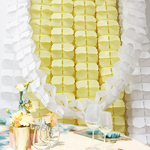 Hanging Garland, Pack of 8 White and Yellow Four-Leaf Clover Tissue Paper Garland, Party Streamers for Party Backdrop Party Decorations, 11 Feet/3M per Each(4 Pcs White+4 Pcs Light Yellow)
