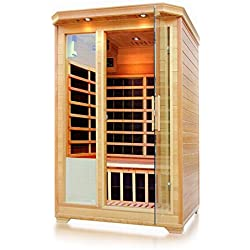 ALEKO SH2EBRO Canadian Hemlock Indoor Outdoor Dry Mini Sauna 1.8 kW Far Infrared Heater 2 Person 47 x 47 x 75 Inches