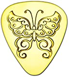 "Unique & Custom [0.38mm Thin Gauge - Traditional Style Semi Tip] Hard Luxury Guitar Pick Made of Genuine Solid Brass w/ Wildlife Garden Tribal Butterfly Design ""Gold Yellow Colored"" {Single Pick}"