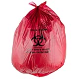 "Red Isolation Infectious Waste Bag / Biohazard Bag High Density 17 Microns - 200/Case 40-45 Gallon 40"" x 48"" By TableTop King"