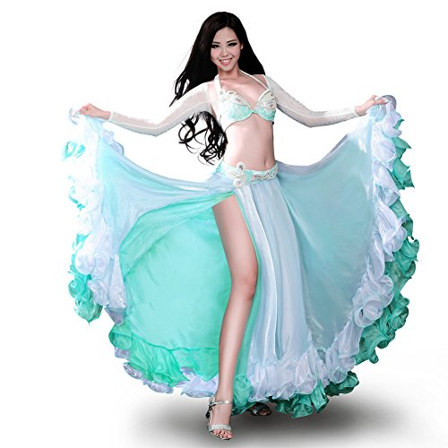 ROYAL SMEELA Belly dance Costume Set Professional Dress Suit For Women Bra and Belt Skirt Sleeves, turouoise, Large by Royal Smeela