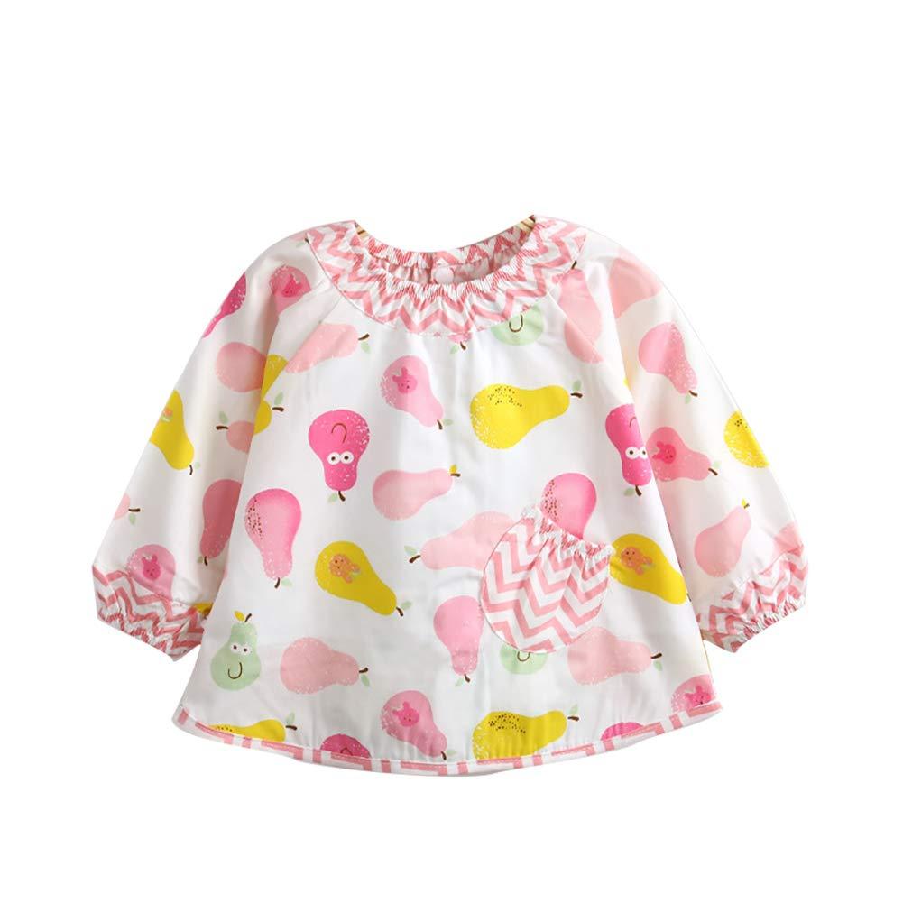 Hilai 1pc Infantil del Vestido del bebé del paño Impermeable Manga Babero para bebés y niños pequeños para el bebé de Comer y Dibujo (Rosa size90)