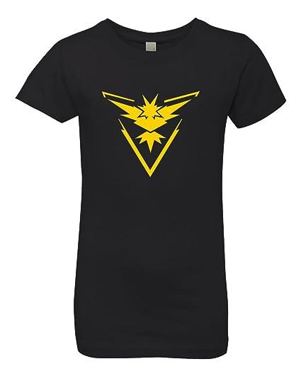 e9b641f3 Pokemon Go Gym Team Instinct Yellow Youth Girls Princess Tee Black X Small.  Roll over image to zoom in. Custom Apparel R Us