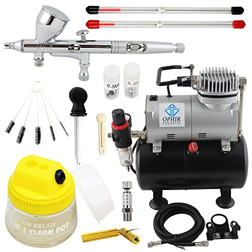 OPHIR 110V Pro Air Tank Compressor with 0.2mm 0.3mm 0.5mm Airbrush & Cleaning Kits for Model Hobby Painting Body Tattoo PRO Airbrush Set