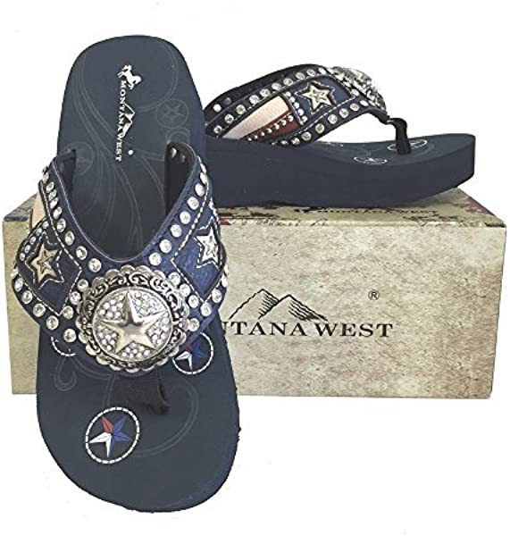 2a8973733 Montana West Ladies Flip Flops Texas Flag Lone Star Cutouts Navy Blue