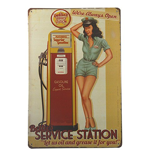 dingleiever DL-Bettie's Service Station Pin Up Girl Sign Let us Oil and Grease it for You. We're Always ()