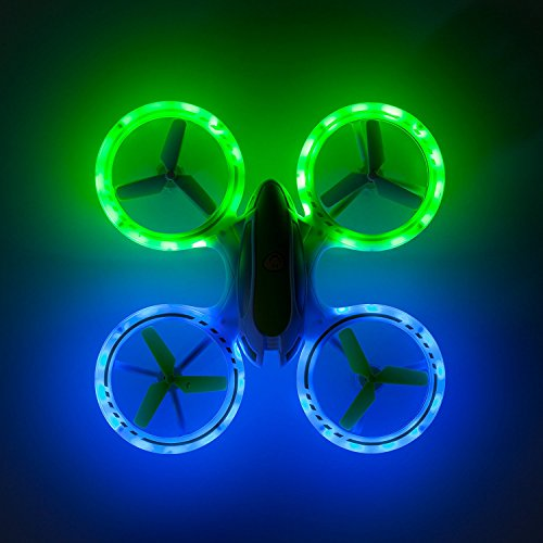 Force1 Bright LED Quadcopter Drone  UFO 3000 Easy Fly RC Drone for Kids with Glowing LED Drone Quadcopter Lights + Mini Drone Bonus Battery and Blades