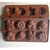 Allforhome 8 Cavity Lovely Bee Ladybug Butterfly Daisy INSECT and FLOWER icing cupcake topper mold Jelly Chocolate Cupcake Cake topper Silicone Mould pan