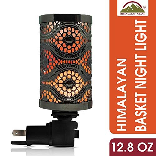 Himalayan Glow 1808 Black Metal Basket Salt Lamp Nightlight, 5.2, Vintage Night Light