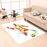 Nalahome Custom carpet Soccer Player Kicks the Ball Competitions Paint Splashes Speed Boots Art Print Orange Teal Blue area rugs for Living Dining Room Bedroom Hallway Office Carpet (5' X 7')