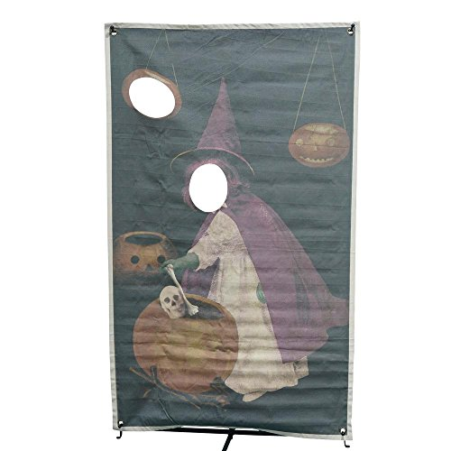 Martha Stewart Living Perfect Photo Op 72.75 in. Witch and Pumpkin Photo Banner with Face Holes, Great for Halloween Parties,Hangs in a Doorway or Other Open Space, Durable and Strong - Cut Out Halloween Pumpkin Face