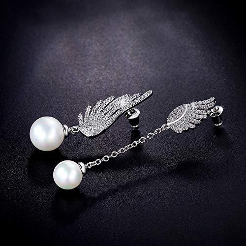 Amyzor Fashion Angel Wings Pearl Long Drop Earrings Elegant Post Dangle Earrings with Platinum Plated Cubic Zirconia CZ Crystal Charm Earrings Stud Earrings Jewelry for Women Girls