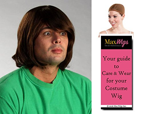 Shaggy Scooby Doo Color Light Brown - Enigma Wigs Men's Shaggi Norville Rogers Cartoon Character Bundle with Wig Cap, MaxWigs Costume Wig Care Guide (Scooby Doo Wigs)