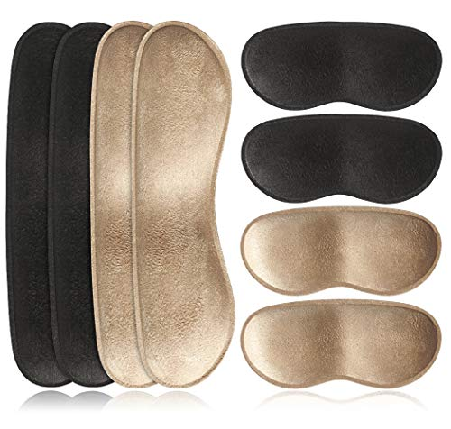 Dr. Shoesert Heel Cushion Inserts Self-Adhesive Heel Grips Liner Pads for Loose Shoes, Thicken Foam Heel Protectors Preventing Heel Slipping, Rubbing, Blisters (Black + Beige)